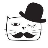 Gulliga Handdrawn Cat Vector Illustration Royaltyfria Foton