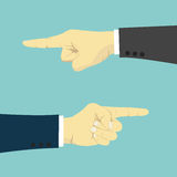 Hände mit dem Fingerzeigen link und recht Stockbild