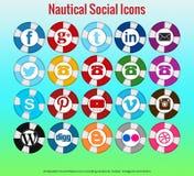 20 härliga nautiska sociala massmediasymboler Royaltyfri Bild