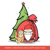Härma med Santa Claus, gran-trädet, påse i klotterstil Royaltyfria Foton