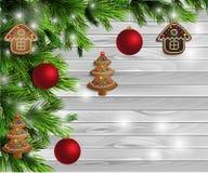 Hölzerner Hintergrund des Designs des Weihnachtsneuen Jahres Stockfotos