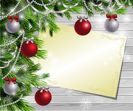 Hölzerner Hintergrund des Designs des Weihnachtsneuen Jahres Stockbild