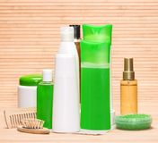 Hair care cosmetics and accessories Stock Images