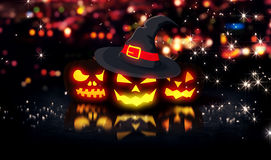 Halloween Glowing Pumpkins Night City Bokeh Background 3D Stock Images