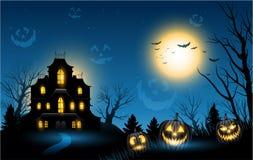 Halloween ha frequentato il fondo del copyspace della casa Fotografia Stock