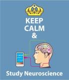 Halten Sie ruhiger und Studien-Neurologievektor Stockfotos