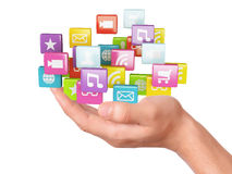 Hand with application software icons. social media Royalty Free Stock Photos