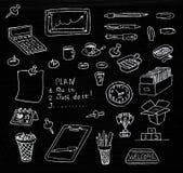 Hand dragen affärssymbolsuppsättning i svart tavla Arkivfoto