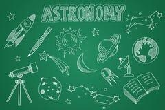 Hand drawn Astronomy set. Chalk on the blackboard Royalty Free Stock Image