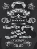 Vintage Chalkboard Banner and Ribbon Set Royalty Free Stock Photos