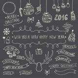 Hand Drawn Christmas ornamental symbols Stock Image