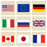 Hand drawn G8 flags Stock Photo