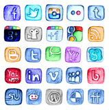 Hand drawn social media icon set Stock Photos