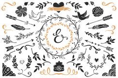 Hand drawn vintage decorative elements with lettering. Stock Photos