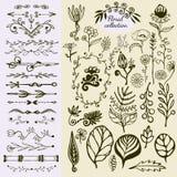 Hand Drawn vintage floral elements. Big set of wild flowers, leaves, swirls, border. Decorative doodle elements Stock Photos