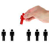 Hand find select person in line of people Stock Image