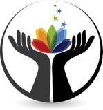Hand flower logo Stock Images