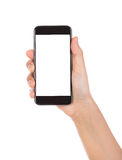 Hand holding mobile smart phone with blank screen Isolated on wh Stock Photo