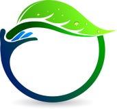 Hand leaf logo Royalty Free Stock Photography