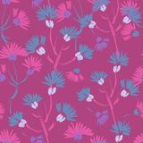 Hand painted textured violet floral seamless pattern Stock Photo