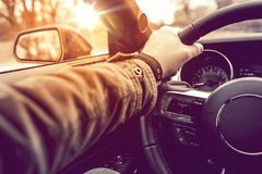 Hand on Wheel Car Driving Royalty Free Stock Photography
