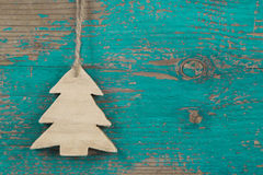 Handmade christmas tree for a wooden christmas background Royalty Free Stock Image