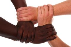 Hands Holding Together Tightly Stock Image