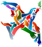 Hands peace bird Stock Photo