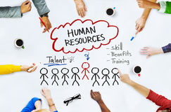 Hands on Whiteboard with Human Resources Concepts Royalty Free Stock Images