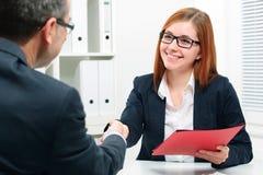 Handshake while job interviewing Royalty Free Stock Photo