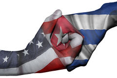 Handshake between United States and Cuba Royalty Free Stock Images