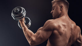 Handsome athletic man working out with dumbbells Royalty Free Stock Images