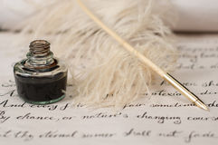 Handwriting,ink and quill pen Royalty Free Stock Image