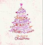 Handwritten word cloud Christmas tree greeting card design Stock Photos
