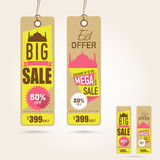 Hanging Sale tags on occasion of Eid Mubarak festival celebration. Royalty Free Stock Images