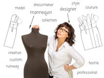 Happy Adult tailor with mannequin on word cloud Royalty Free Stock Photo