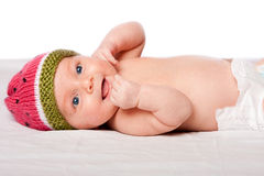 Happy baby infant with hat Stock Photography