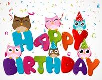 Happy birthday card with owl Stock Photos