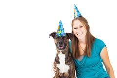 Happy Birthday Girl and Dog Royalty Free Stock Photo