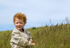 Happy Boy in Field Stock Images
