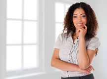 Happy business woman in new office Royalty Free Stock Photos