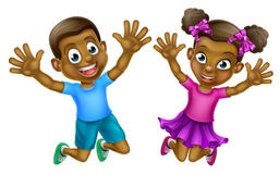 Happy Cartoon Boy and Girl Royalty Free Stock Photos