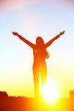 Happy cheering celebrating success woman sunset Royalty Free Stock Photos