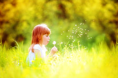 Happy child blowing dandelion outdoors in spring park Stock Images