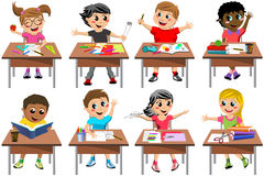 Happy Children Kid Desk School Classroom Isolated Royalty Free Stock Photos