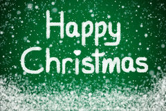 Happy Christmas on Green Background Royalty Free Stock Images