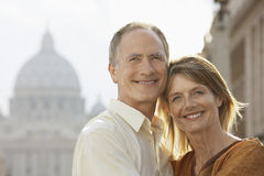 Happy Couple Embracing In Rome Royalty Free Stock Images