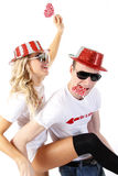 Happy couple partying Royalty Free Stock Photo