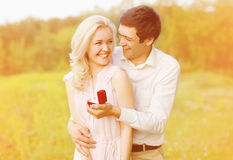 Happy couple, ring, engagement Royalty Free Stock Photos