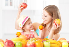 Happy family mother and daughter little girl, eat healthy vegetarian food,  fruit Royalty Free Stock Photos